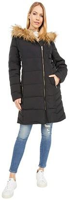 Cole Haan 36 Quilted Exposed Zip Front Coat with Faux Fur Trim (Black) Women's Coat