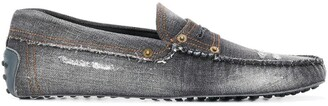 Tod's Gommino distressed denim driving shoes