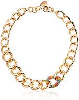 "Betsey Johnson Rainbow Connection"" Rainbow Pave Chain Link Necklace, 18"""