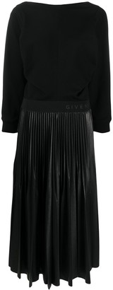 Givenchy Logo-Waistband Pleated Dress