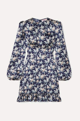 The Vampire's Wife Belle Belted Ruffled Floral-print Silk-satin Dress - Navy