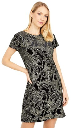Calvin Klein Short Sleeve Patterned Velvet Dress (Black/Gold) Women's Dress