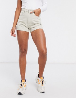Weekday Rowe organic cotton raw-hem denim shorts in ecru
