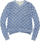 Pepe Jeans Blue and white openwork knit sweater and grey tank top