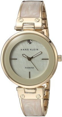 Anne Klein Women's AK/2512IVGB Diamond-Accented Dial Gold-Tone and Ivory Bangle Watch