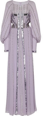 Temperley London Queenie Studded Sequin-Embellished Silk Gown