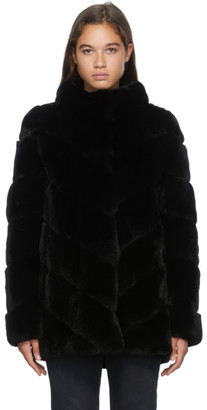 Yves Salomon Black Rex Rabbit Fur Coat