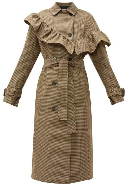 MSGM Houndstooth Ruffle Trim Wool Blend Trench Coat - Womens - Beige