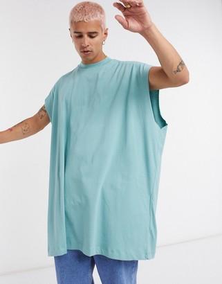 ASOS DESIGN extreme oversized longline sleeveless t-shirt in blue