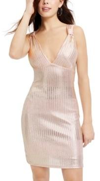 Bebe Juniors' Metallic Ribbed Bodycon Dress