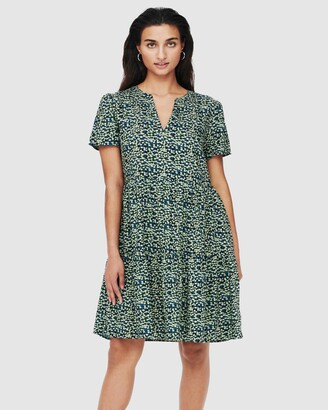 Only Women's Green Mini Dresses - Zally Short Sleeve Dress - Size One Size, L at The Iconic