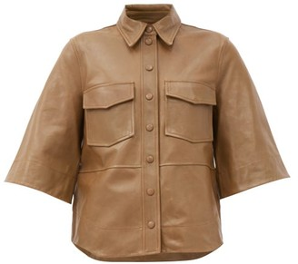 Ganni Bell-sleeve Leather Shirt - Beige