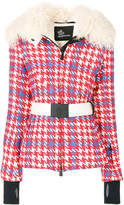 Moncler checked belted jacket