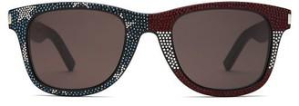Saint Laurent Crystal-embellished D-frame Acetate Sunglasses - Mens - Black