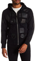Diesel Black Leather Patch Zip Up Hoodie