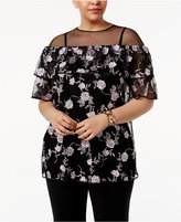 Alfani Plus Size Embroidered Mesh Ruffle Top, Only at Macy's