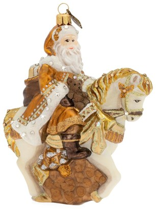 Jay Strongwater Holiday Santa On Horse Glass Ornament