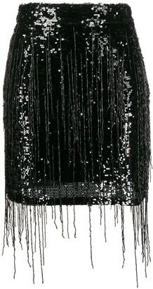 Amen Fringed Embroidered Mini Skirt