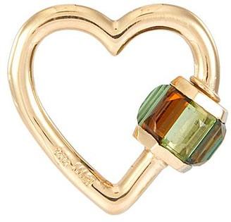 Marla Aaron 'Heart' tourmaline 14k yellow gold baguette lock