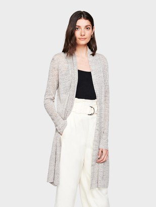 White + Warren Linen Long Open Cardigan