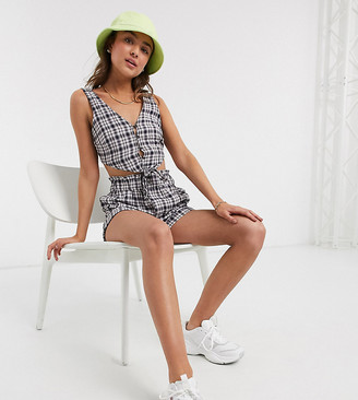 Noisy May Petite crop top with tie front in blue check