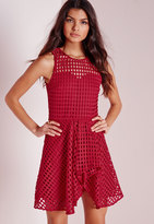 Missguided Lace Skater Dress Red