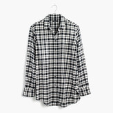Madewell Flannel Oversized Side-Button Shirt in Bridgeport Plaid
