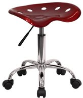 Flash Furniture LF-214A-WINE-GG Vibrant Wine Tractor Seat and Chrome Stool