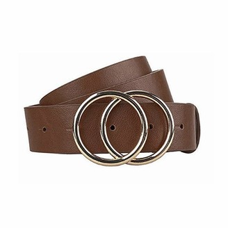 X Cheng Gackoko Women Leather Belt for Dress & Jeans Fashion Soft Leather with Double O-Ring Buckle (brown M)