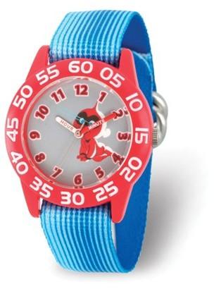 Disney Incredibles Jack-Jack Parr Boys' Red Plastic Time Teacher Watch,Blue Stripe Stretchy Nylon Strap