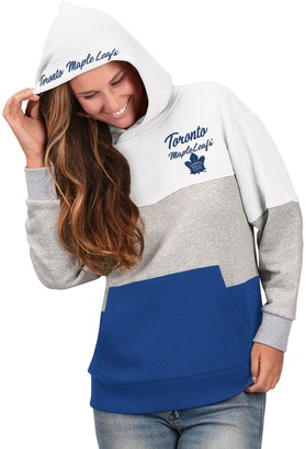 G Iii Women's G-III 4Her by Carl Banks Gray/Blue Toronto Maple Leafs Gridiron Pullover Hoodie