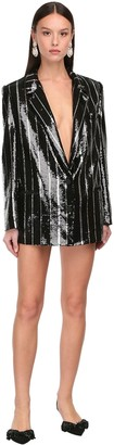 DANIELE CARLOTTA Sequins Striped Blazer Mini Dress