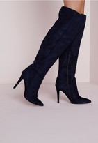 Missguided Knee High Stiletto Heeled Boots Navy