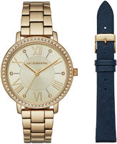 Liz Claiborne Womens Gold Tone Watch Boxed Set-Lc4003