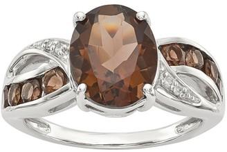 Sterling Oval Gemstone & Diamond Ring