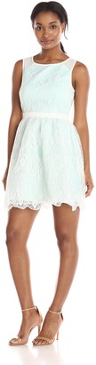 Minuet Women's Lace Overlay Fit and Flare