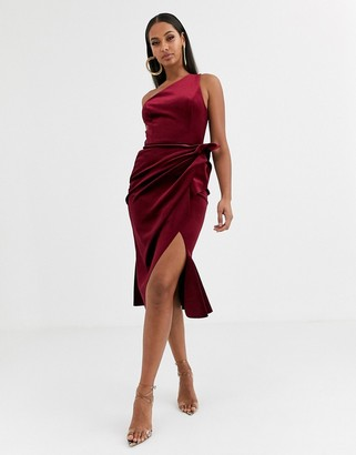 Asos Design DESIGN velvet one shoulder tuck detail midi dress-Red