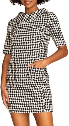Trina Turk Maleko Houndstooth Short-Sleeve Dress