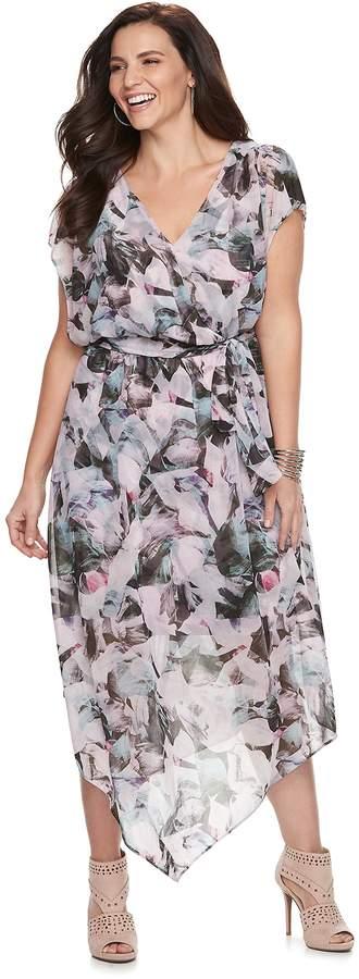 JLO by Jennifer Lopez Plus Size V-Hem Wrap Dress