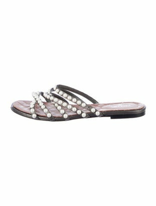 Chanel Faux Pearl Accents Leather Slides Grey