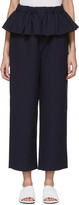 Sara Lanzi Navy Ruffle Trousers
