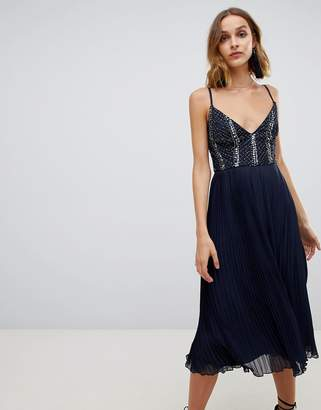 Lace & Beads embellished top dress with pleated skirt in navy