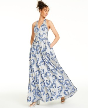 Speechless Juniors' Metallic Floral Brocade Halter Gown, Created for Macy's