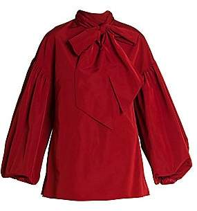 Valentino Women's Micro Faille Blouson-Sleeve Tieneck Blouse