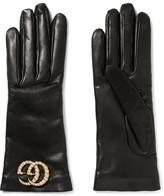 Gucci Embellished Leather Gloves - Black
