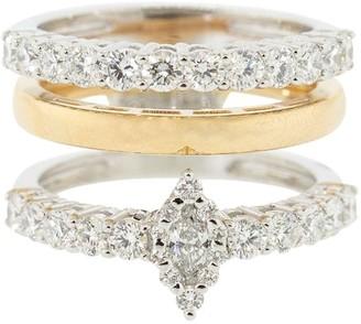 YEPREM 18kt Rose And White Gold Diamond Three-Band Ring