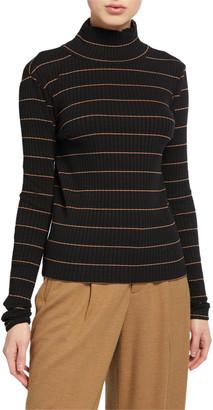 Vince Striped Rib Turtleneck Pullover