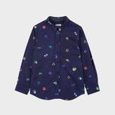 Paul Smith Boys' 7+ Years Navy Neon Symbols Print 'Mercer' Shirt