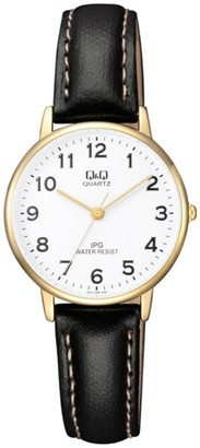 Q&Q Women's Analogue Quartz Watch with Leather Strap QQZ01J104Y