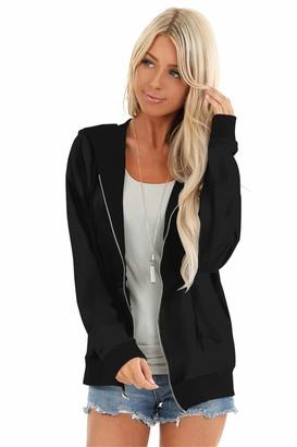 BETTE BOUTIK Womens Drawstrings Hoodie Sweatshirt Full-Zip Light Weight Track Jaket with Pockets Spring Autumn Tunic Top Black XXL